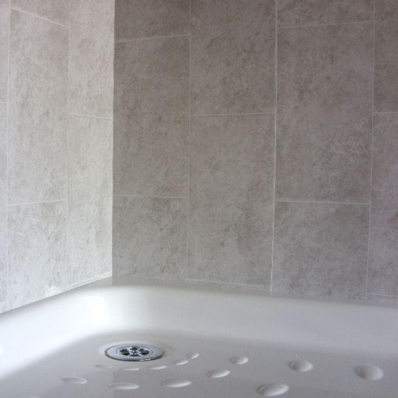 florentine grey tile effect1 - Tile Effect Bathroom Wall Panels