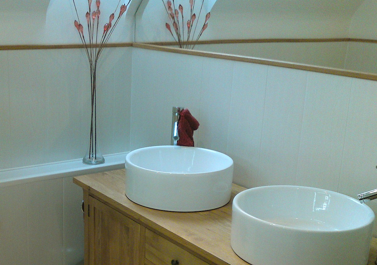 wood effect bathroom cladding2 - Vanity Units