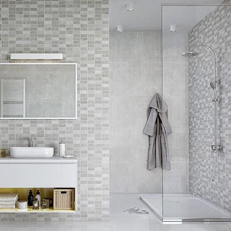 tile effect bathroom wall panels example1 - Mosaic Tiles In The Bathroom?